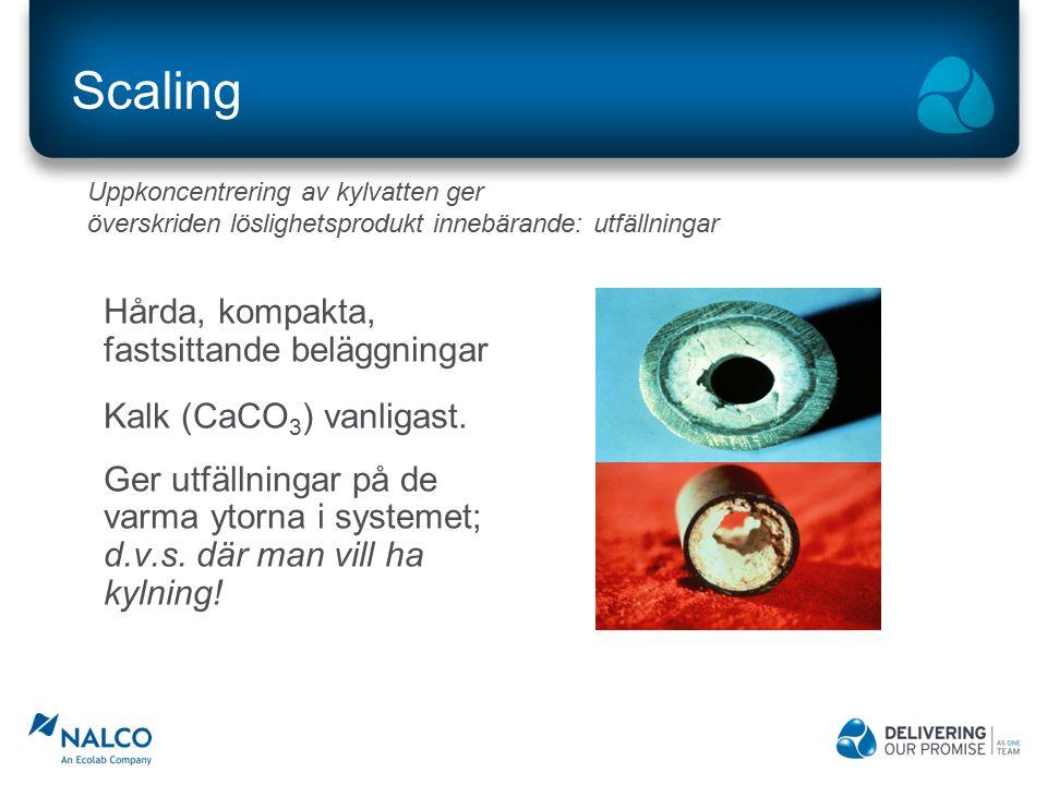 Scaling Hårda, kompakta, fastsittande beläggningar Kalk (CaCO 3 ) vanligast. Ger utfällningar på de varma ytorna i systemet; d.v.s. där man vill ha ky