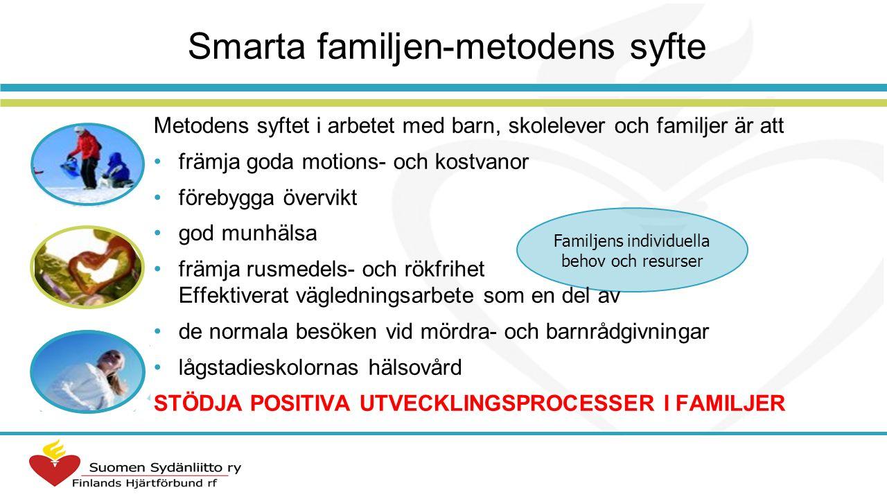 Smarta familjen 2006 → Hjärt- programmet Mödra- och barnrådgivningar 2006 -> Skolhälsovården 2008 -> STRIP Rekommendationer och förordning 338/2011 Samarbetsparter bl.a.