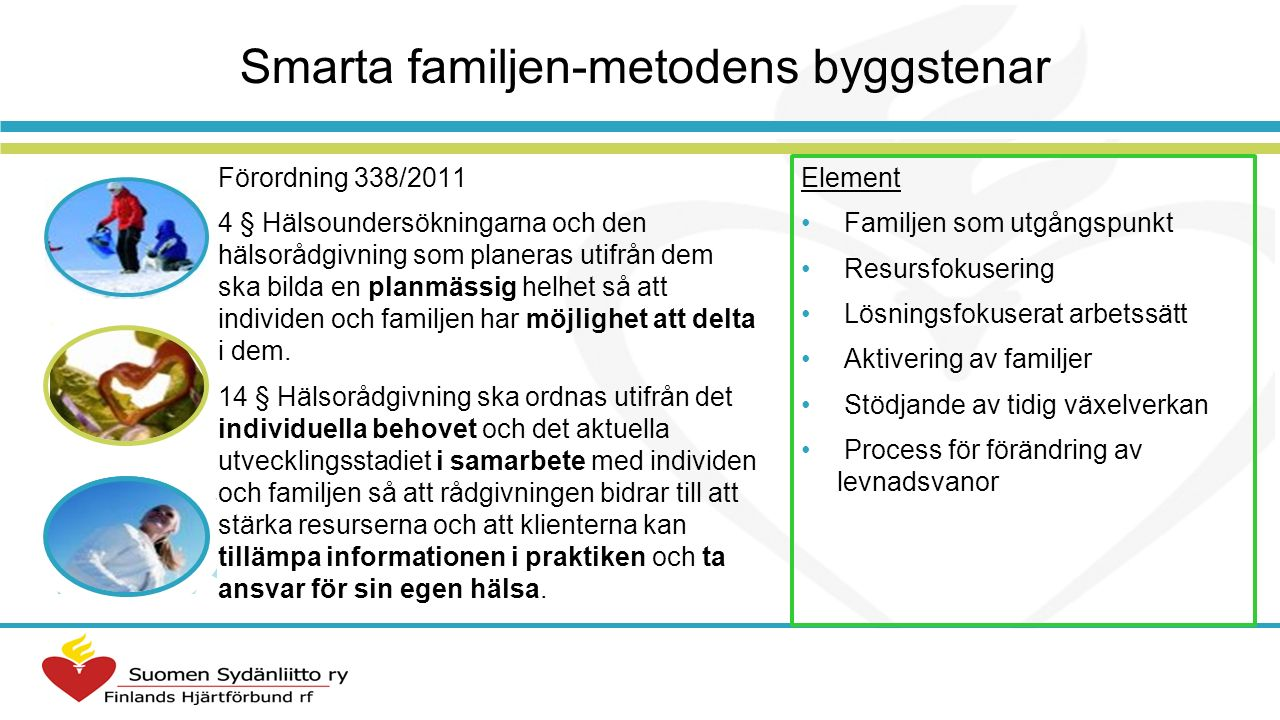 Erfarenheter och utvärdering av Smarta familjen-metoden Vårdpersonalens erfarenheter av metoden Konkretiserar, fördjupar och systematiserar vägledningen Ger diskussionen en klar struktur Gör det lättare att ta upp hälsovanor, särskilt med familjer med övervikt Klienten aktiveras Föräldrar inser vilken betydelse deras roll har för barnen I början tar metoden tid, men när man lär sig den sparar den tid Föräldrars erfarenheter av metoden Kortet i sig ger information Aktiverar och uppmuntrar till att utvärdera familjens vanor Lättare att styra vad man vill diskutera under mottagningen Fortbildningsrespons 2008–2012, extern utvärdering 2007, 2010 (Sosiaalikehitys Oy), kontinuerlig intern evaluering: diskussion med användare, användarenkät 2012