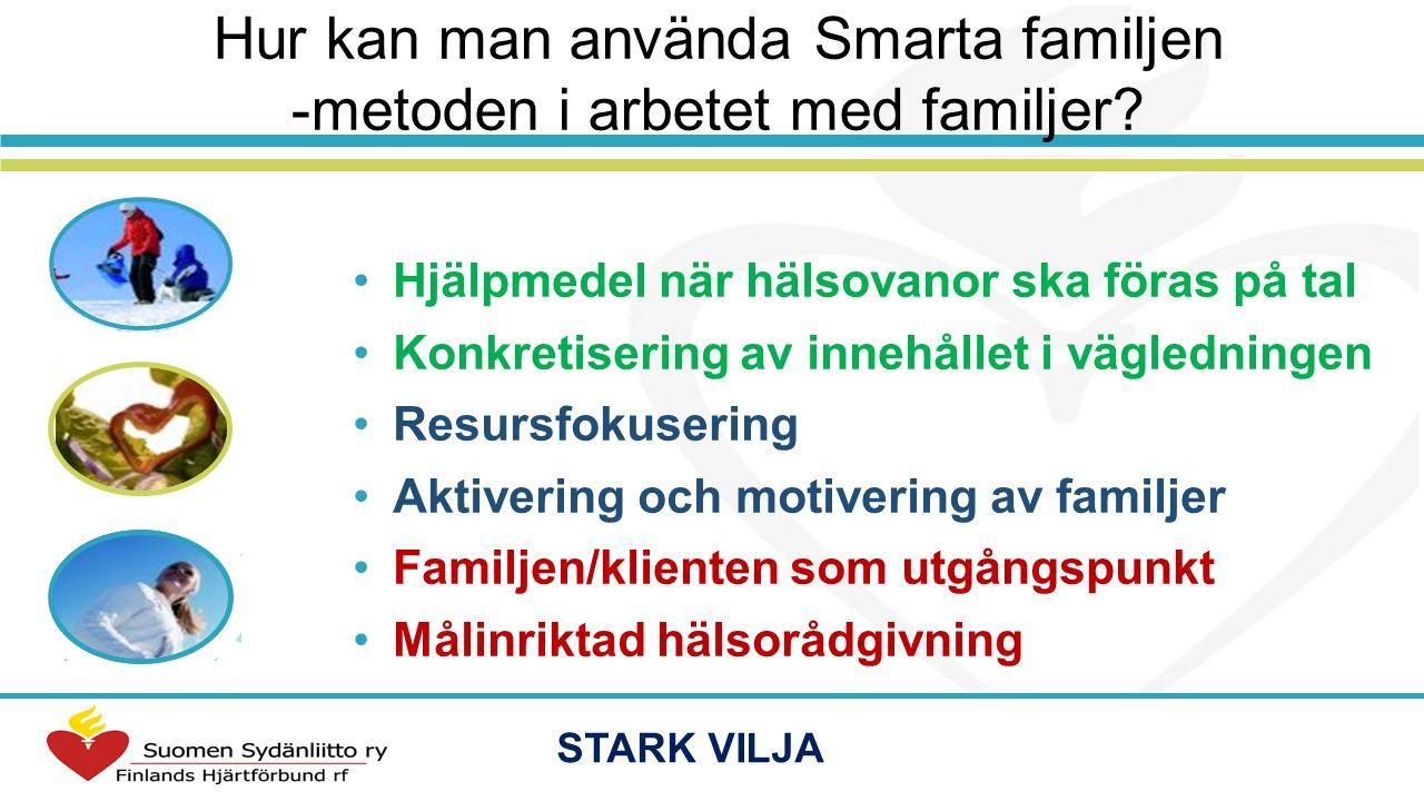 Hur kan man använda Smarta familjen -metoden i arbetet med familjer? Hjälpmedel när hälsovanor ska föras på tal Konkretisering av innehållet i vägledn