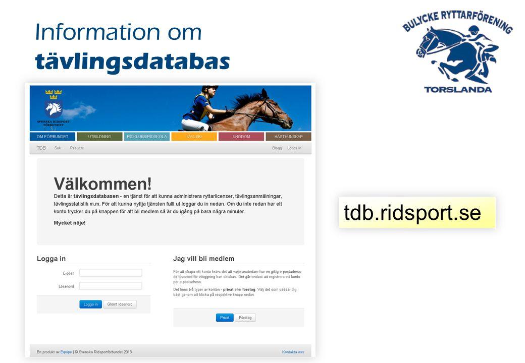 Information om tävlingsdatabas tdb.ridsport.se