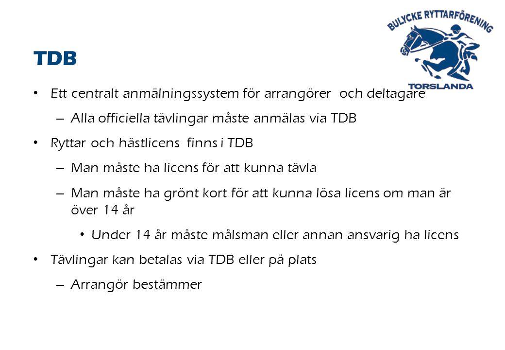Ett centralt anmälningssystem för arrangörer och deltagare – Alla officiella tävlingar måste anmälas via TDB Ryttar och hästlicens finns i TDB – Man måste ha licens för att kunna tävla – Man måste ha grönt kort för att kunna lösa licens om man är över 14 år Under 14 år måste målsman eller annan ansvarig ha licens Tävlingar kan betalas via TDB eller på plats – Arrangör bestämmer TDB