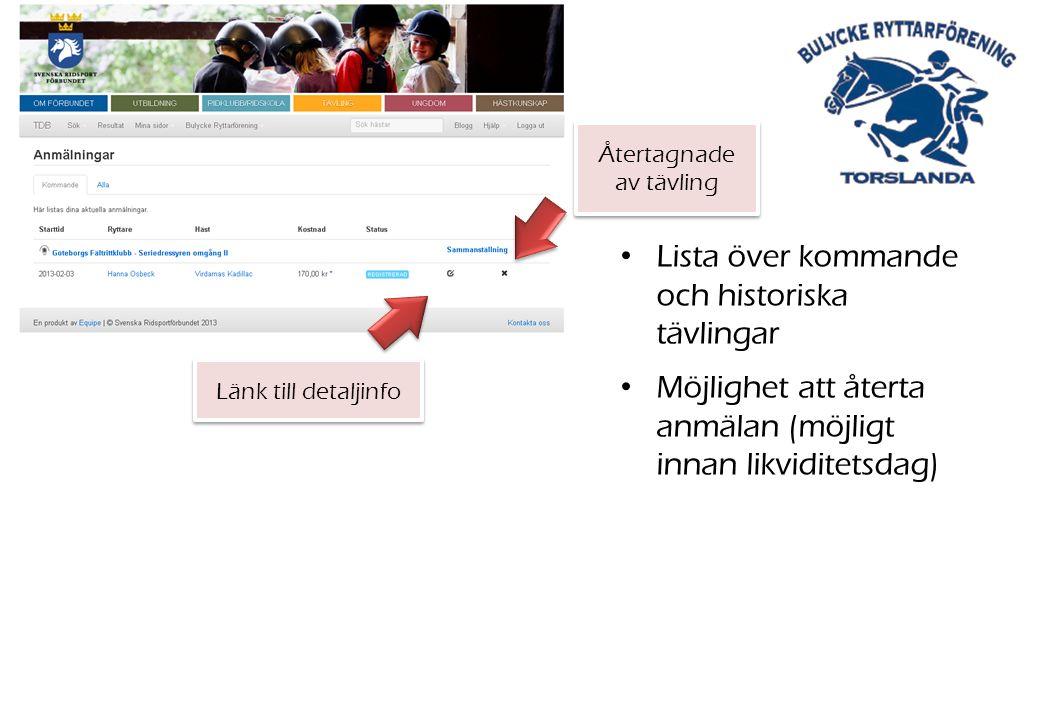 Länk till detaljinfo Återtagnade av tävling Lista över kommande och historiska tävlingar Möjlighet att återta anmälan (möjligt innan likviditetsdag)