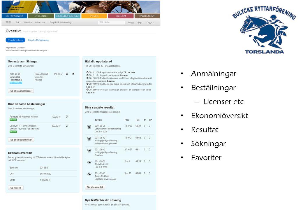Anmälningar Beställningar – Licenser etc Ekonomiöversikt Resultat Sökningar Favoriter