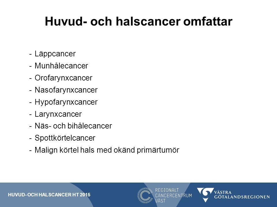 Huvud- och halscancer omfattar -Läppcancer -Munhålecancer -Orofarynxcancer -Nasofarynxcancer -Hypofarynxcancer -Larynxcancer -Näs- och bihålecancer -Spottkörtelcancer -Malign körtel hals med okänd primärtumör HUVUD- OCH HALSCANCER HT 2015