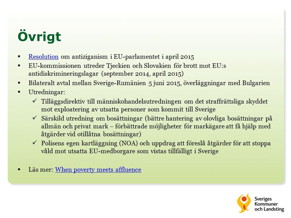 Övrigt  Resolution om antiziganism i EU-parlamentet i april 2015 Resolution  EU-kommissionen utreder Tjeckien och Slovakien för brott mot EU:s antidiskrimineringslagar (september 2014, april 2015)  Bilateralt avtal mellan Sverige-Rumänien 5 juni 2015, överläggningar med Bulgarien  Utredningar: Tilläggsdirektiv till människohandelsutredningen om det straffrättsliga skyddet mot exploatering av utsatta personer som kommit till Sverige Särskild utredning om bosättningar (bättre hantering av olovliga bosättningar på allmän och privat mark – förbättrade möjligheter för markägare att få hjälp med åtgärder vid otillåtna bosättningar) Polisens egen kartläggning (NOA) och uppdrag att föreslå åtgärder för att stoppa våld mot utsatta EU-medborgare som vistas tillfälligt i Sverige  Läs mer: When poverty meets affluenceWhen poverty meets affluence