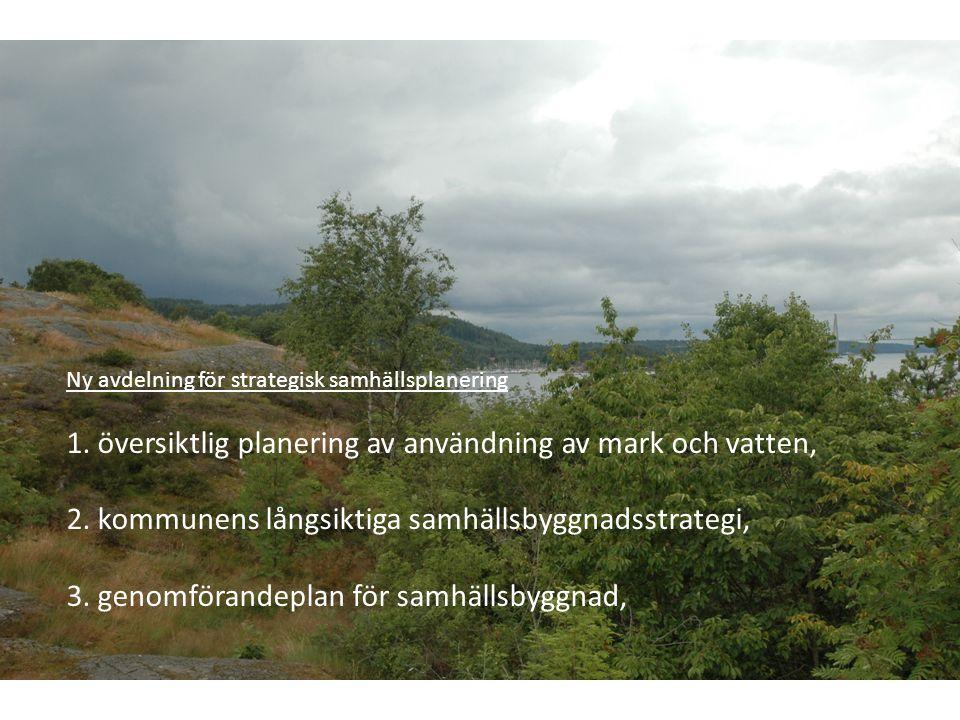 Ny avdelning för strategisk samhällsplanering 1. översiktlig planering av användning av mark och vatten, 2. kommunens långsiktiga samhällsbyggnadsstra