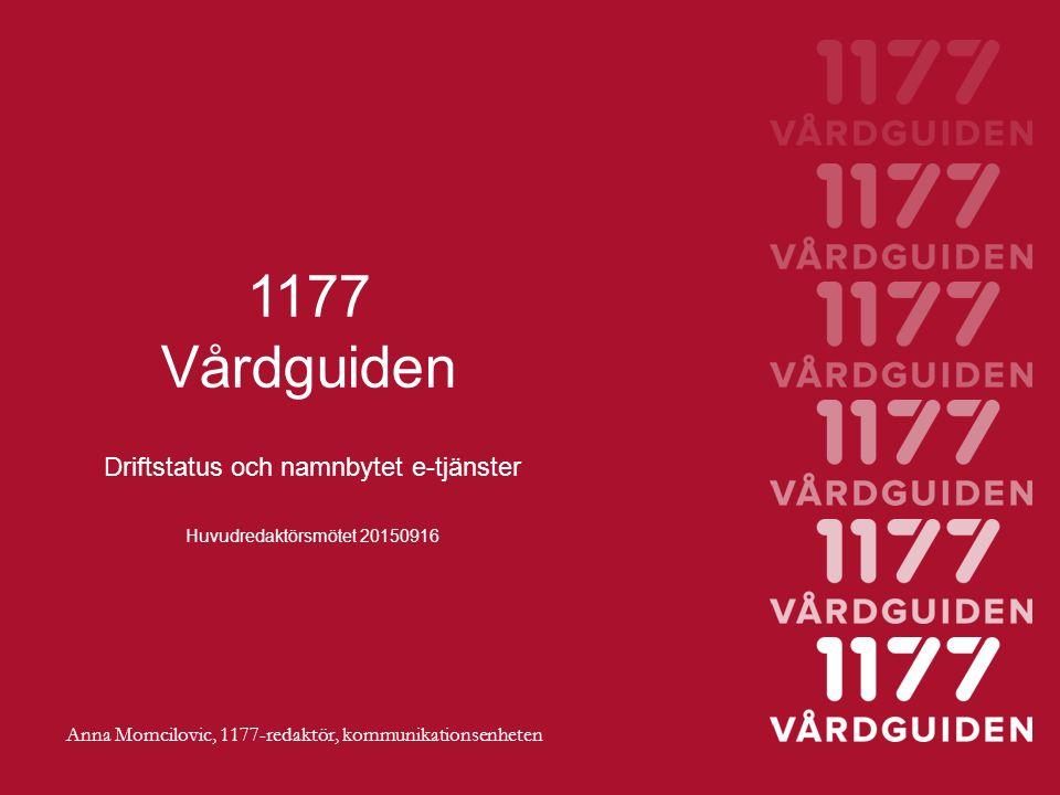 1177 Vårdguiden Driftstatus och namnbytet e-tjänster Huvudredaktörsmötet 20150916 Anna Momcilovic, 1177-redaktör, kommunikationsenheten
