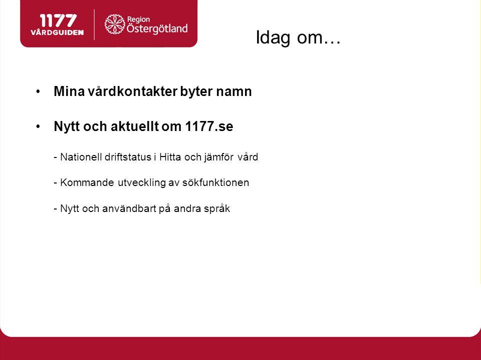 Mina vårdkontakter byter namn Nytt och aktuellt om 1177.se - Nationell driftstatus i Hitta och jämför vård - Kommande utveckling av sökfunktionen - Nytt och användbart på andra språk Idag om…