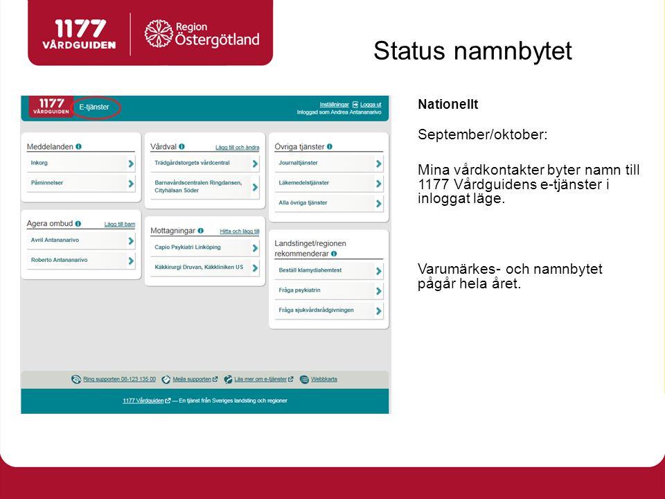 Nationellt September/oktober: Mina vårdkontakter byter namn till 1177 Vårdguidens e-tjänster i inloggat läge.