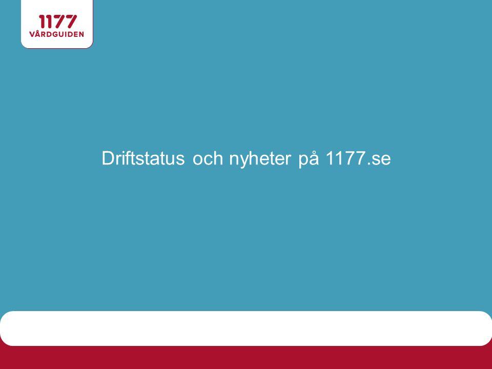 Driftstatus och nyheter på 1177.se
