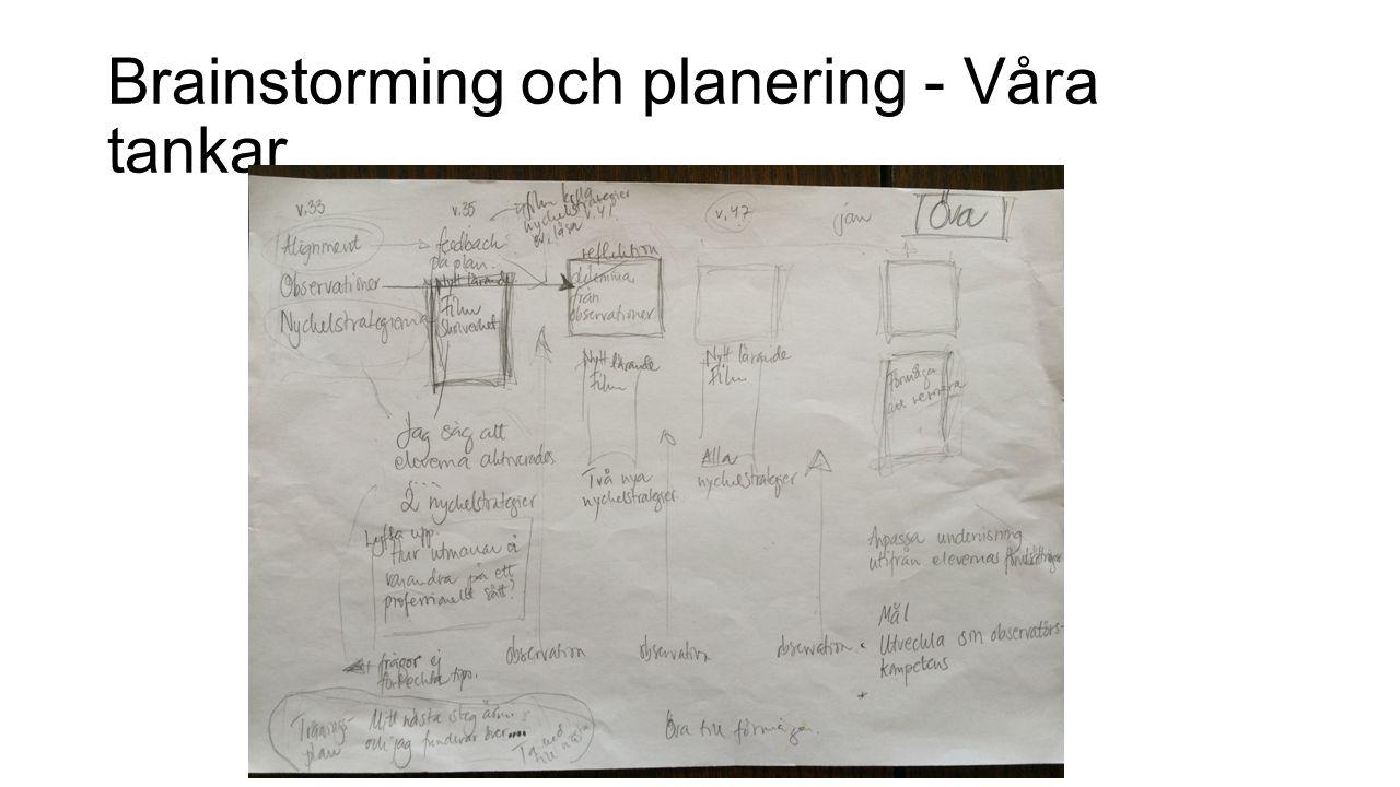 Brainstorming och planering - Våra tankar