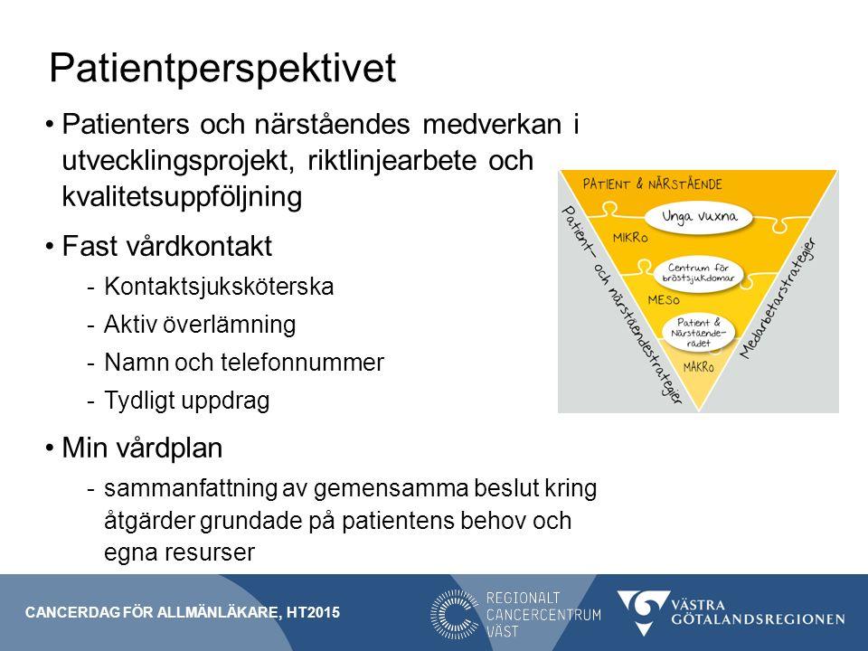 Patientperspektivet Patienters och närståendes medverkan i utvecklingsprojekt, riktlinjearbete och kvalitetsuppföljning Fast vårdkontakt -Kontaktsjuks