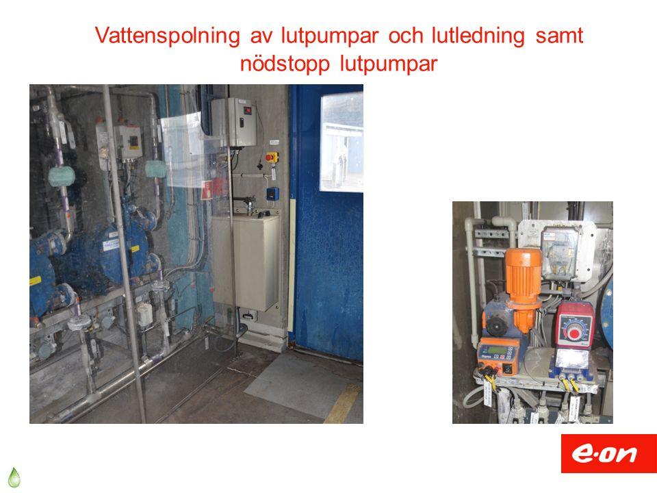 Vattenspolning av lutpumpar och lutledning samt nödstopp lutpumpar