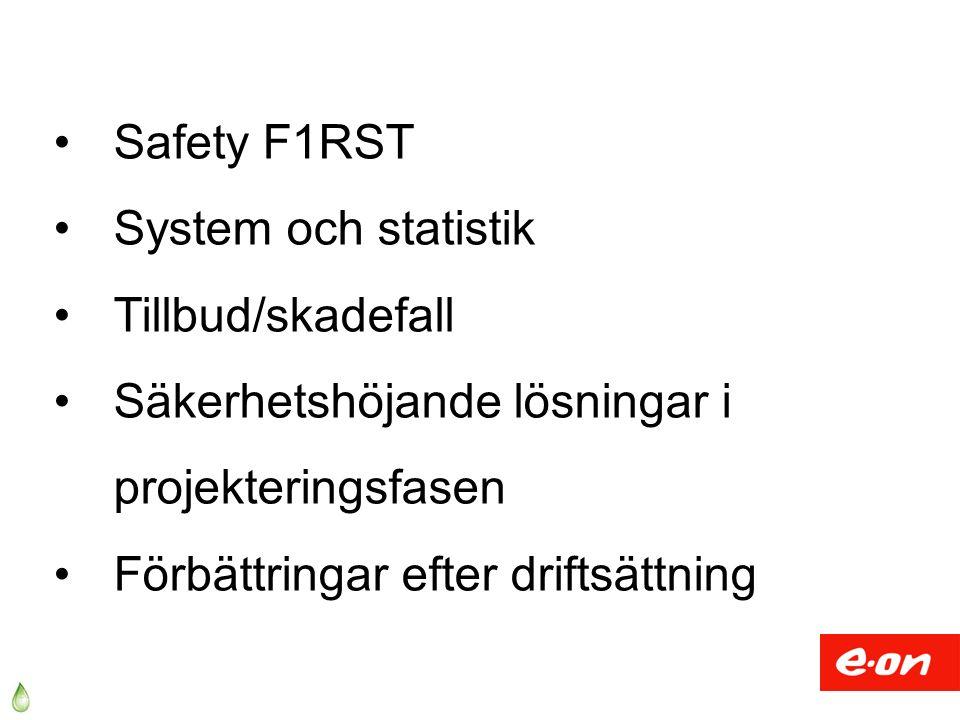 Safety F1RST System och statistik Tillbud/skadefall Säkerhetshöjande lösningar i projekteringsfasen Förbättringar efter driftsättning