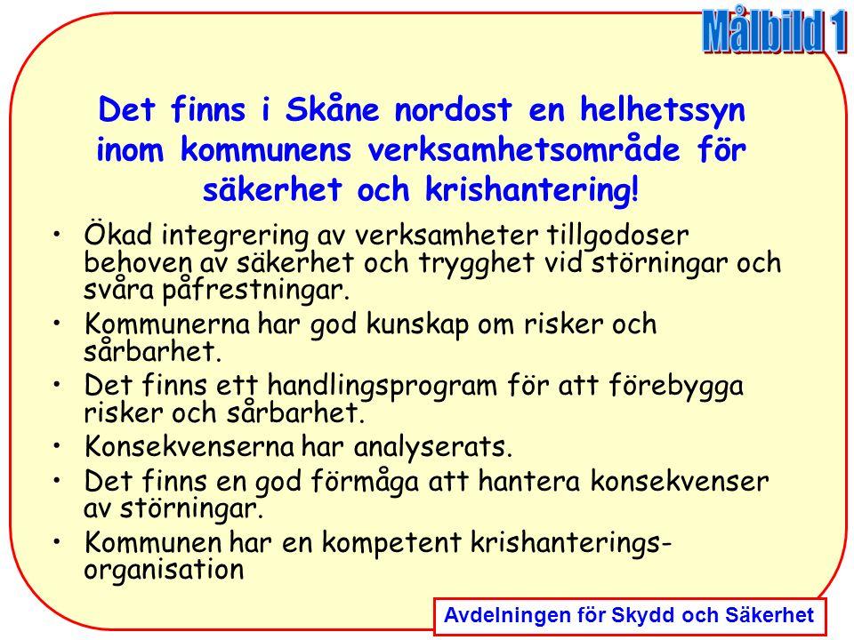 Avdelningen för Skydd och Säkerhet Det finns i Skåne nordost en helhetssyn inom kommunens verksamhetsområde för säkerhet och krishantering! Ökad integ