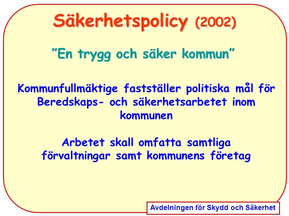 """Avdelningen för Skydd och Säkerhet Säkerhetspolicy (2002) """"En trygg och säker kommun"""" Kommunfullmäktige fastställer politiska mål för Beredskaps- och"""