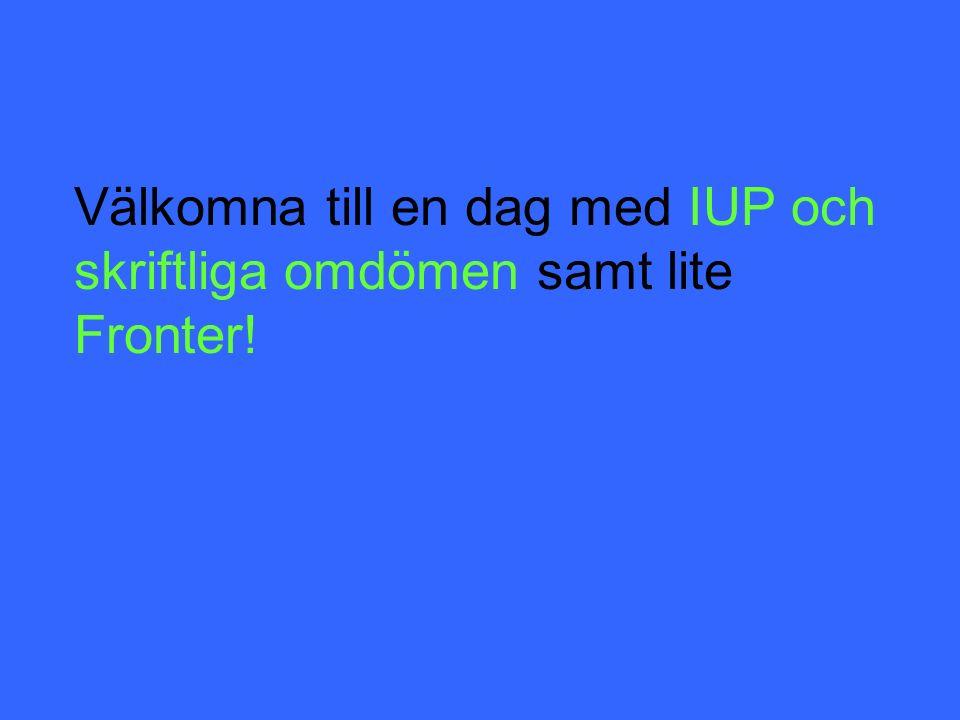 Tillbakablick Varför IUP.Varför skriftliga omdömen.