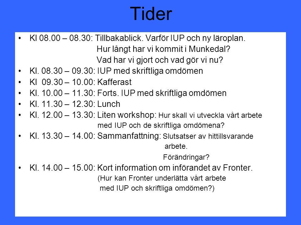 Tider Kl 08.00 – 08.30: Tillbakablick. Varför IUP och ny läroplan.