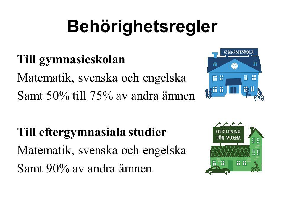 Behörighetsregler Till gymnasieskolan Matematik, svenska och engelska Samt 50% till 75% av andra ämnen Till eftergymnasiala studier Matematik, svenska