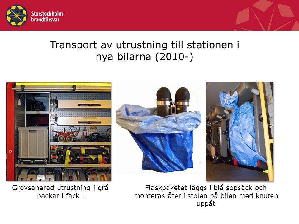 Transport av utrustning till stationen i nya bilarna (2010-) Grovsanerad utrustning i grå backar i fack 1 Flaskpaketet läggs i blå sopsäck och monteras åter i stolen på bilen med knuten uppåt