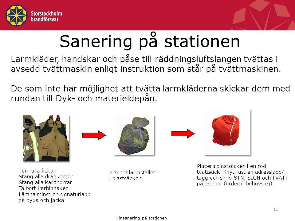 11 Sanering på stationen Larmkläder, handskar och påse till räddningsluftslangen tvättas i avsedd tvättmaskin enligt instruktion som står på tvättmaskinen.