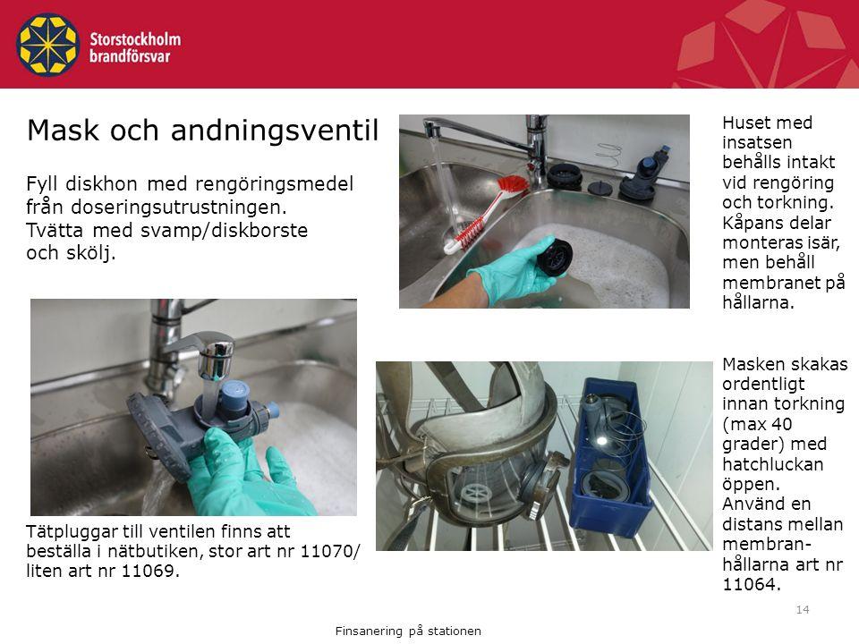 14 Mask och andningsventil Fyll diskhon med rengöringsmedel från doseringsutrustningen.