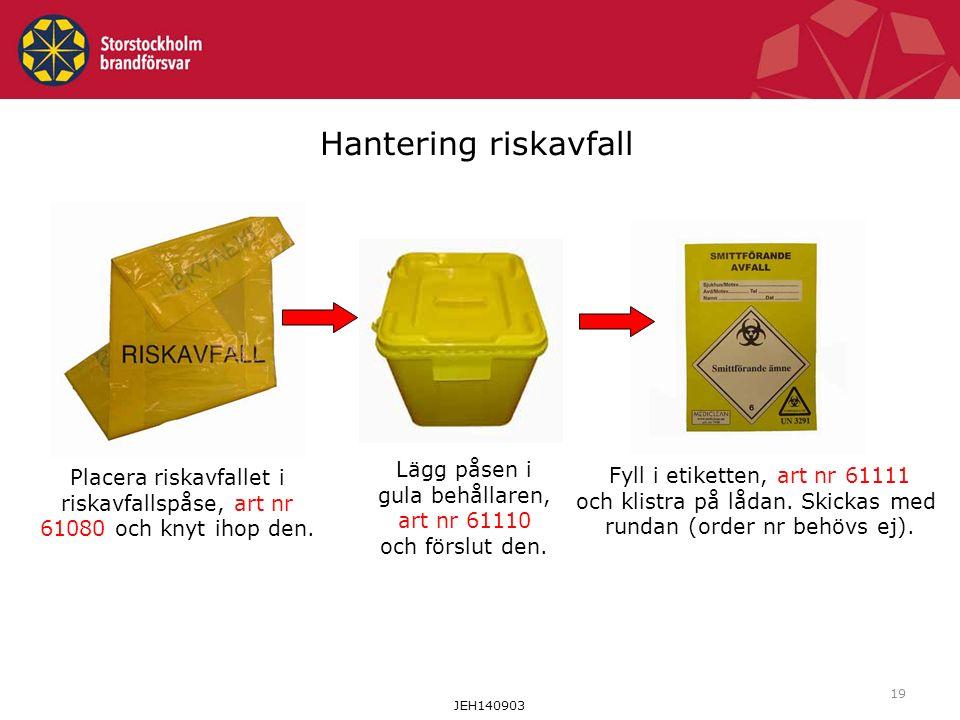 19 Hantering riskavfall Placera riskavfallet i riskavfallspåse, art nr 61080 och knyt ihop den.