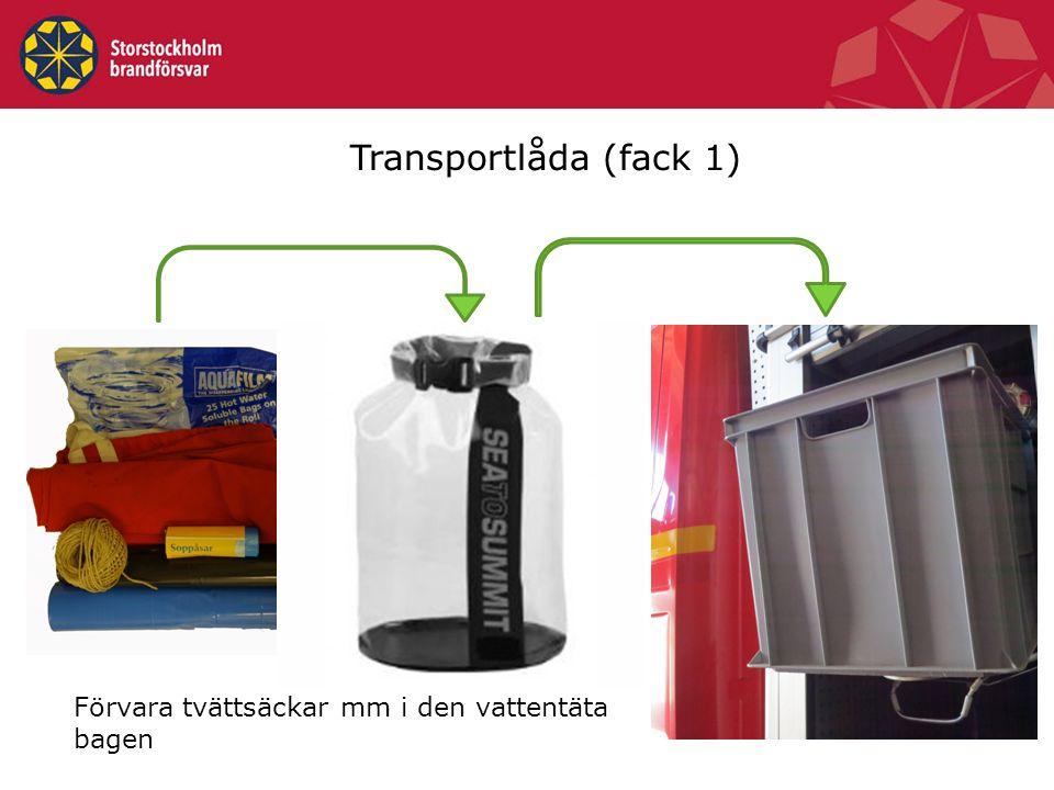 Transportlåda (fack 1) Förvara tvättsäckar mm i den vattentäta bagen