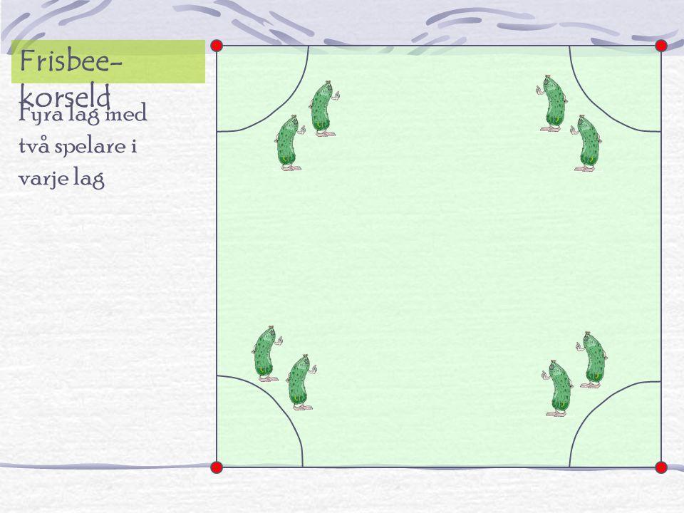 Fyra lag med två spelare i varje lag Frisbee- korseld