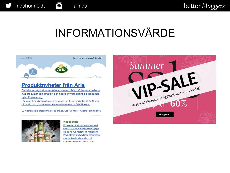 lindahornfeldt lalinda INFORMATIONSVÄRDE