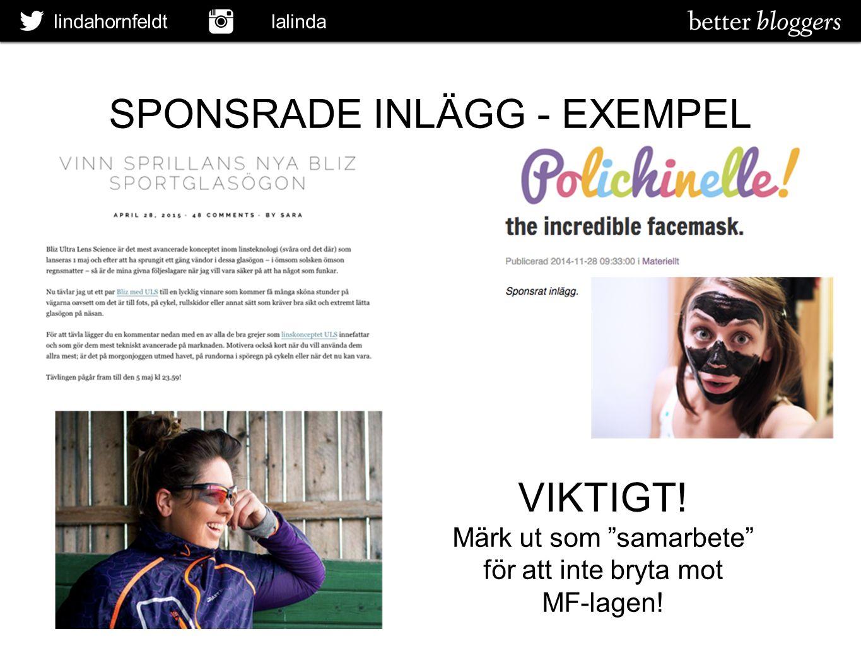 """SPONSRADE INLÄGG - EXEMPEL lindahornfeldt lalinda VIKTIGT! Märk ut som """"samarbete"""" för att inte bryta mot MF-lagen!"""