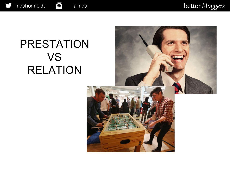 lindahornfeldt lalinda PRESTATION VS RELATION