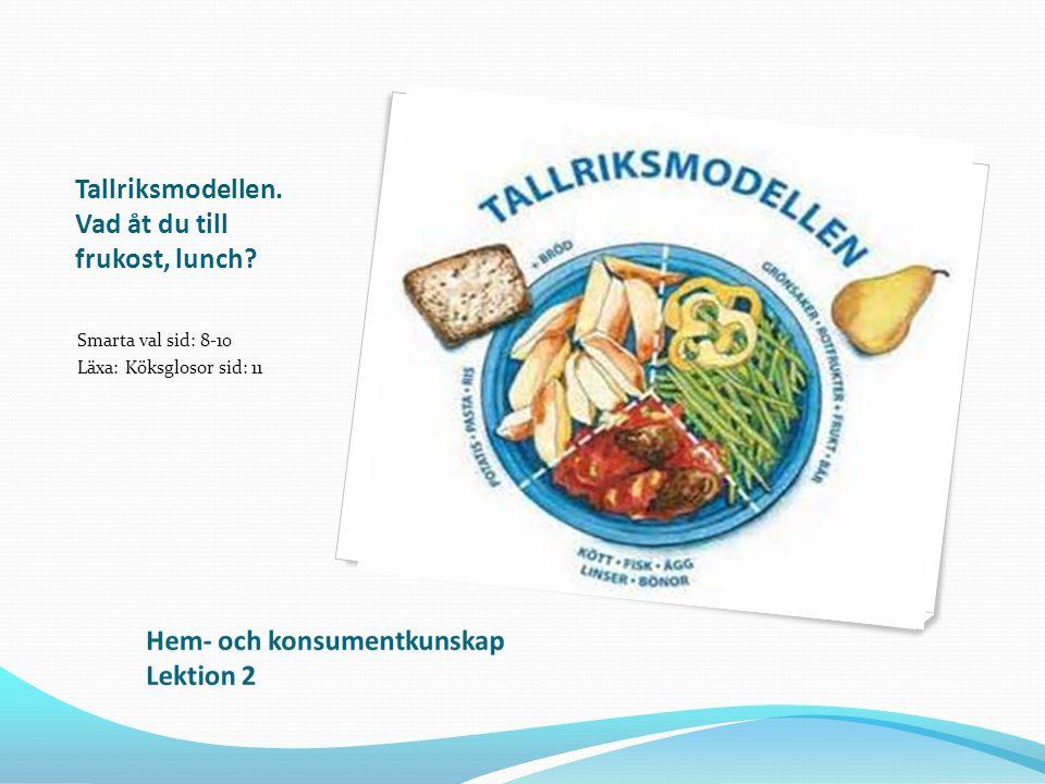Tallriksmodellen. Vad åt du till frukost, lunch? Smarta val sid: 8-10 Läxa: Köksglosor sid: 11