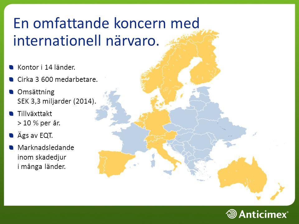 En omfattande koncern med internationell närvaro. Kontor i 14 länder.