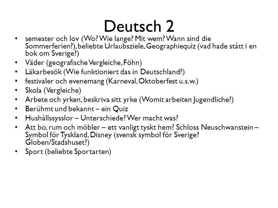 Deutsch 2 semester och lov (Wo? Wie lange? Mit wem? Wann sind die Sommerferien?), beliebte Urlaubsziele, Geographiequiz (vad hade stått i en bok om Sv