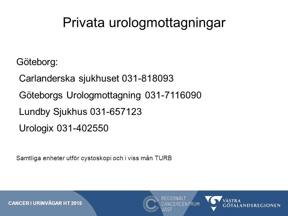 Privata urologmottagningar Göteborg: Carlanderska sjukhuset 031-818093 Göteborgs Urologmottagning 031-7116090 Lundby Sjukhus 031-657123 Urologix 031-4