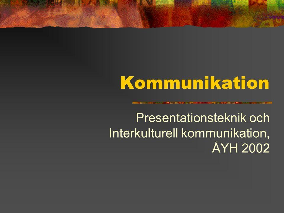 Innehåll Kommunikationens element Två kommunikationsskisser Definitioner och diskussioner Kommunikationsproblem Kommunikationens egenskaper Icke-verbal kommunikation Varseblivning & Informationsintag