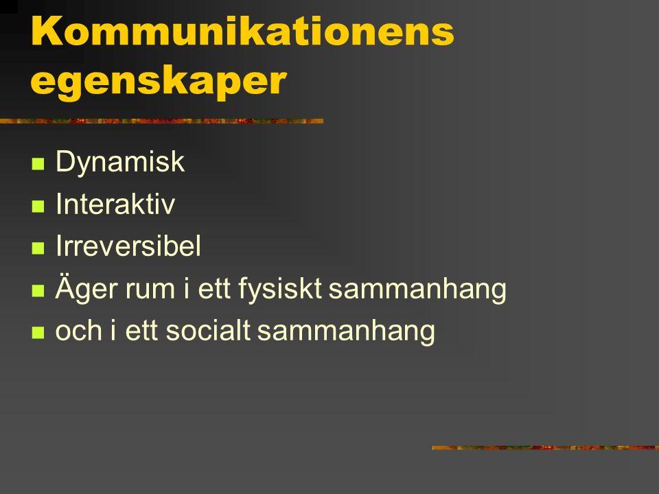 Kommunikationens egenskaper Dynamisk Interaktiv Irreversibel Äger rum i ett fysiskt sammanhang och i ett socialt sammanhang
