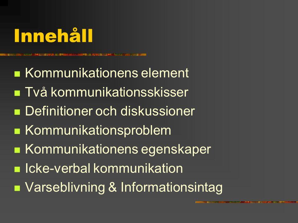 Innehåll Kommunikationens element Två kommunikationsskisser Definitioner och diskussioner Kommunikationsproblem Kommunikationens egenskaper Icke-verba