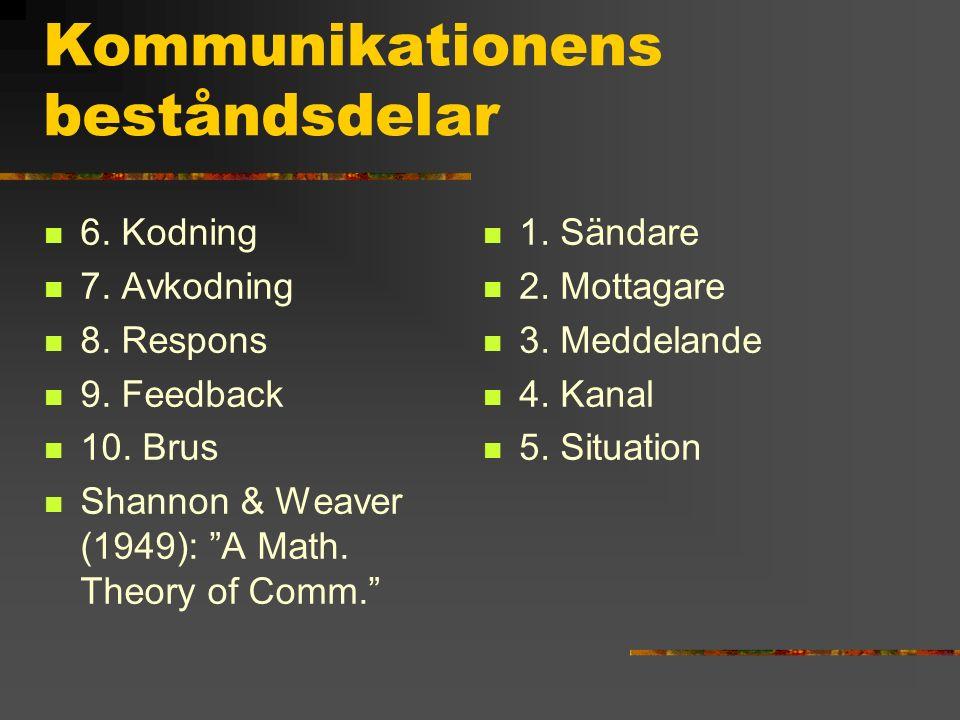 """Kommunikationens beståndsdelar 6. Kodning 7. Avkodning 8. Respons 9. Feedback 10. Brus Shannon & Weaver (1949): """"A Math. Theory of Comm."""" 1. Sändare 2"""
