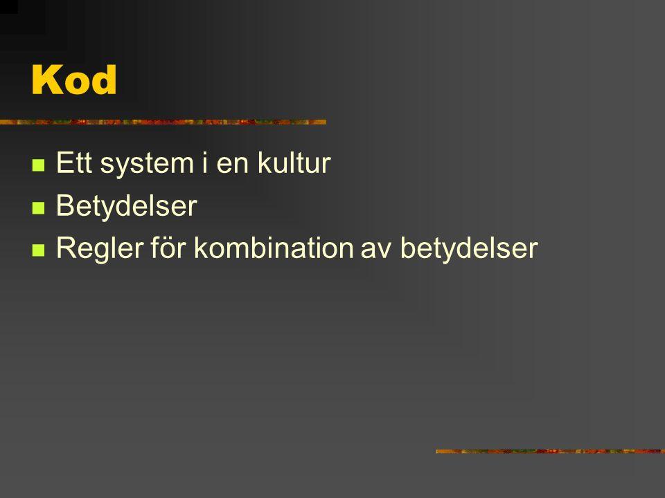 Kod Ett system i en kultur Betydelser Regler för kombination av betydelser