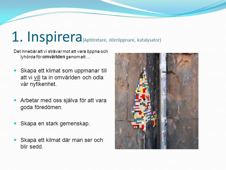 1. Inspirera (Aptitretare, dörröppnare, katalysator) Det innebär att vi strävar mot att vara öppna och lyhörda för omvärlden genom att … Skapa ett kli