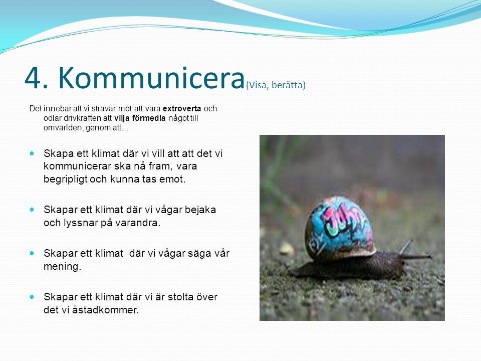 4. Kommunicera (Visa, berätta) Det innebär att vi strävar mot att vara extroverta och odlar drivkraften att vilja förmedla något till omvärlden, genom