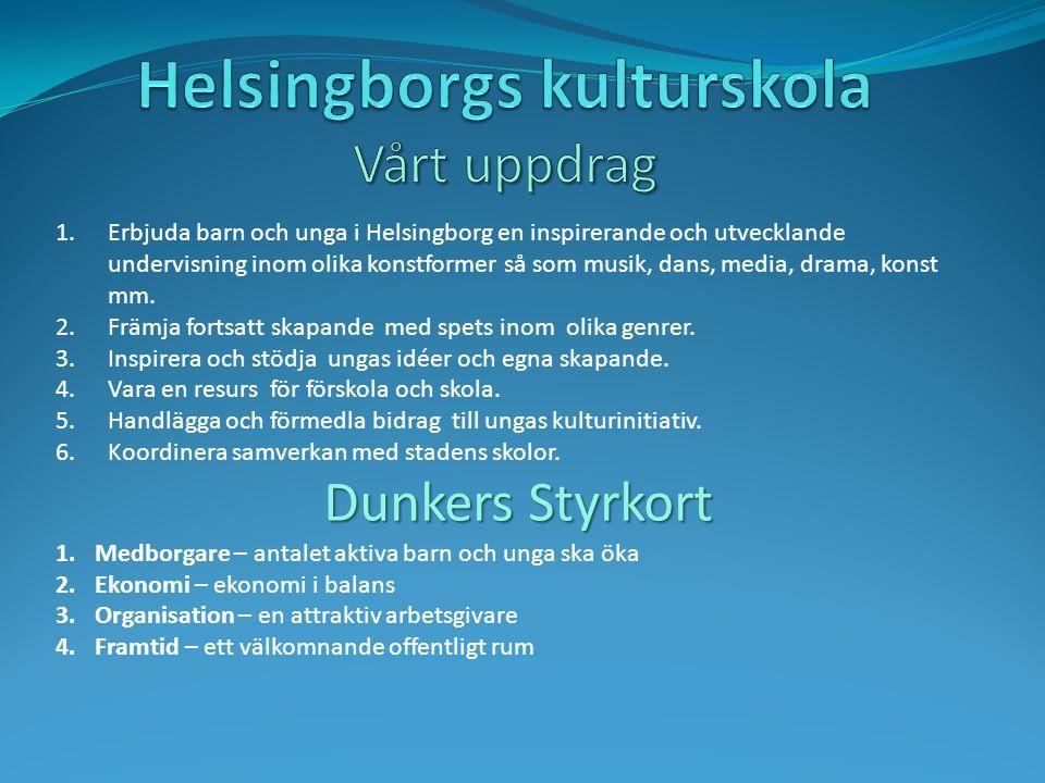 1.Erbjuda barn och unga i Helsingborg en inspirerande och utvecklande undervisning inom olika konstformer så som musik, dans, media, drama, konst mm.