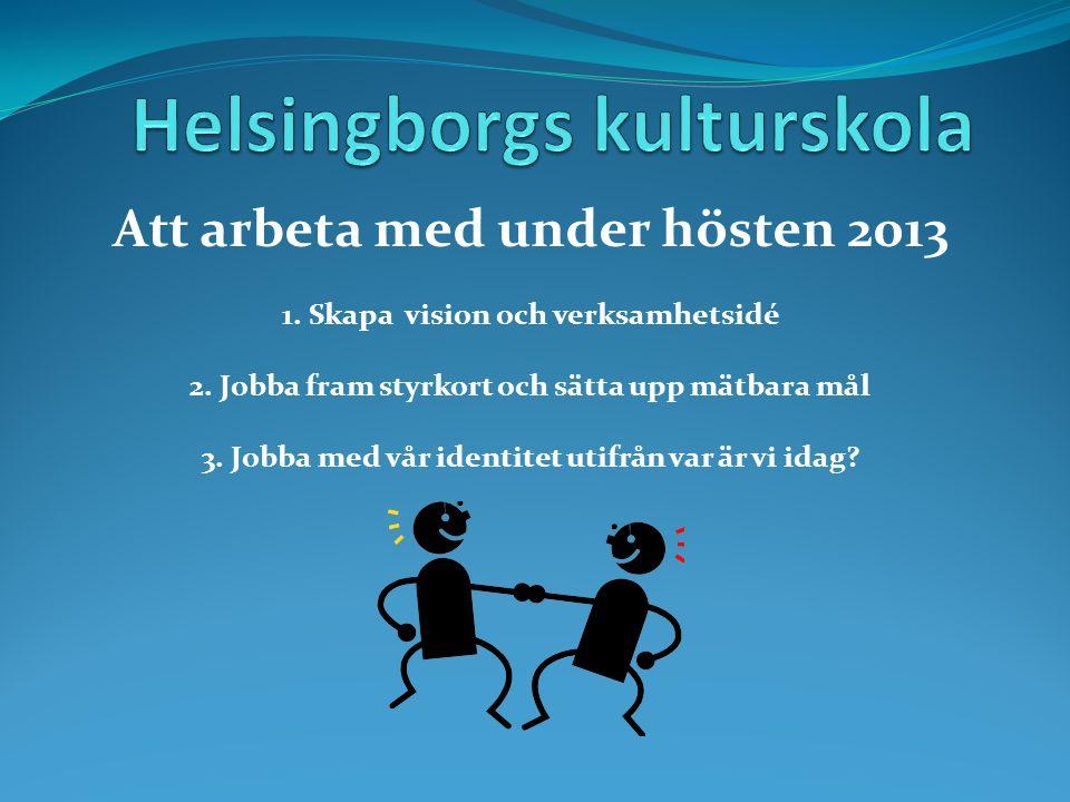 Att arbeta med under hösten 2013 1. Skapa vision och verksamhetsidé 2.