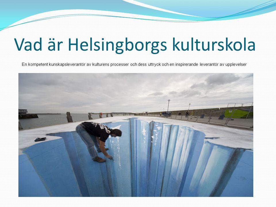 Vad är Helsingborgs kulturskola En kompetent kunskapsleverantör av kulturens processer och dess uttryck och en inspirerande leverantör av upplevelser