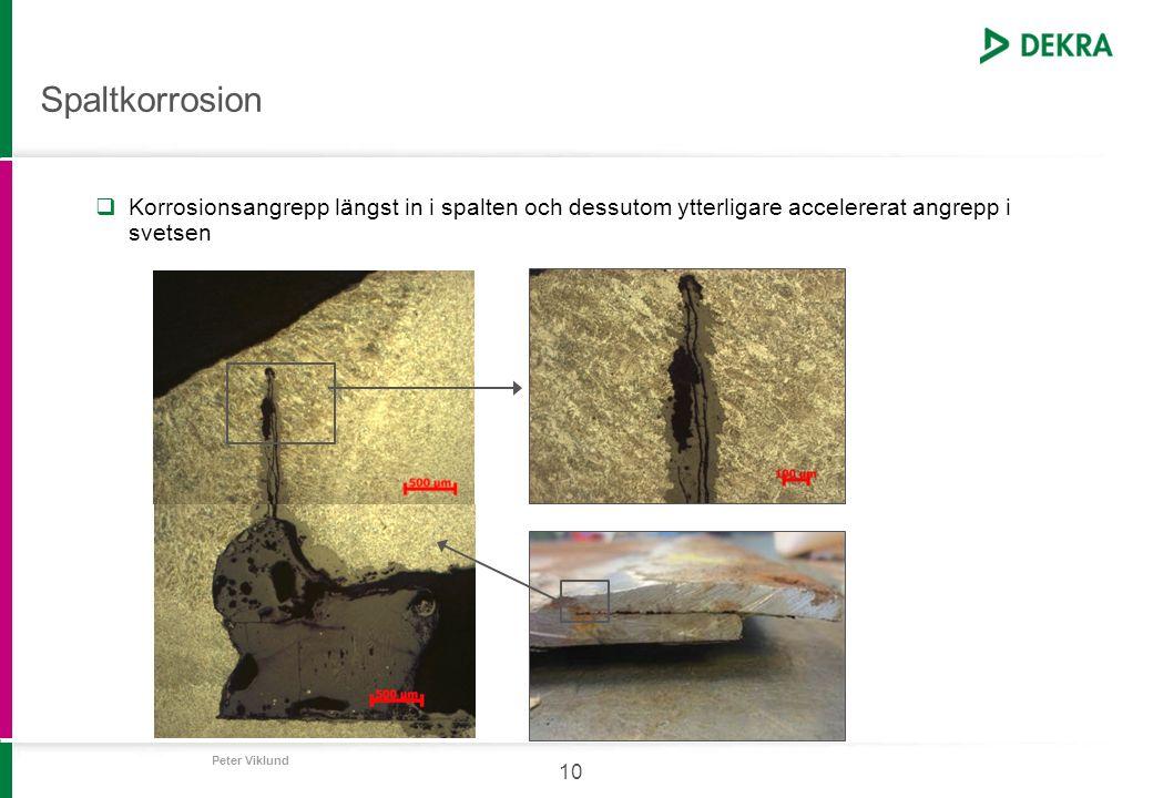 Peter Viklund 10 Spaltkorrosion  Korrosionsangrepp längst in i spalten och dessutom ytterligare accelererat angrepp i svetsen