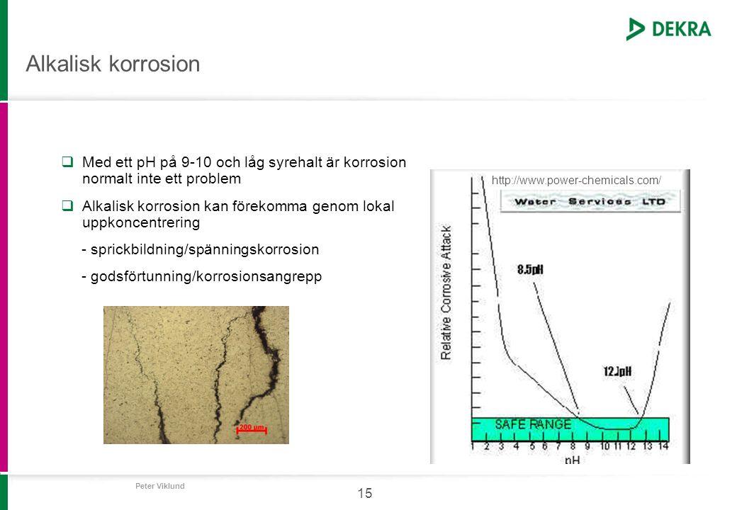 Peter Viklund 15 Alkalisk korrosion  Med ett pH på 9-10 och låg syrehalt är korrosion normalt inte ett problem  Alkalisk korrosion kan förekomma gen