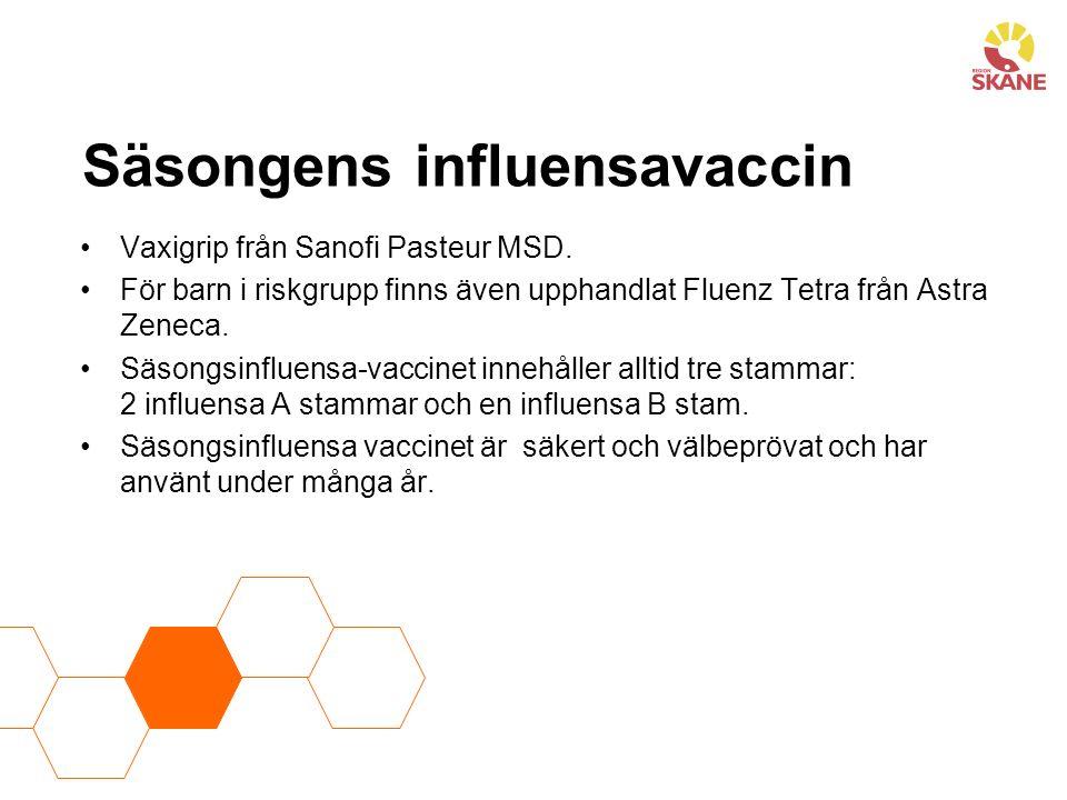 Säsongens influensavaccin Vaxigrip från Sanofi Pasteur MSD.